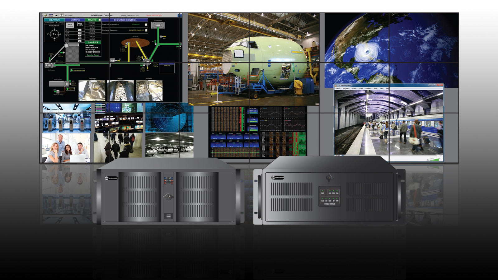 Galileo Video Wall Screens and Front Views