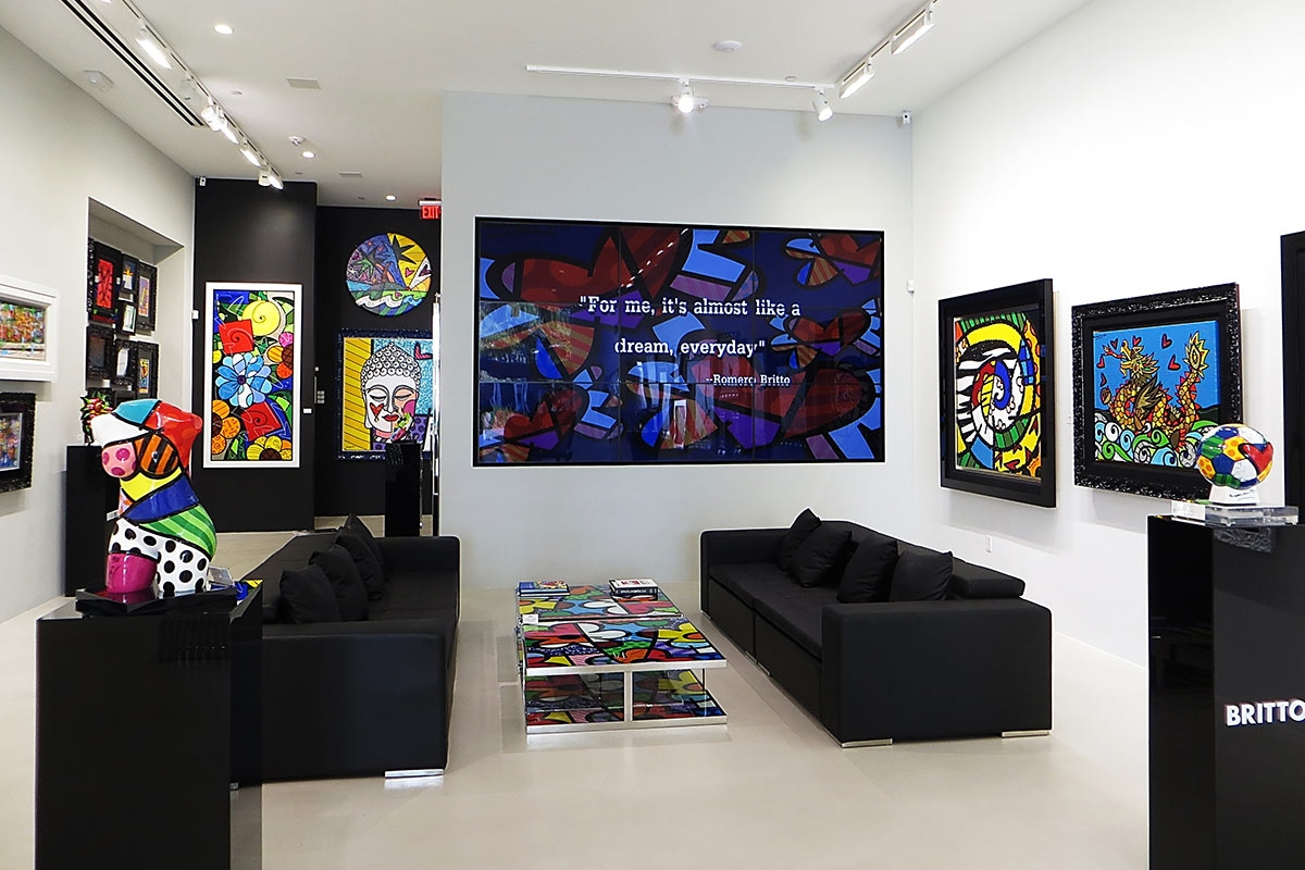 Britto Gallery, Miami, video wall