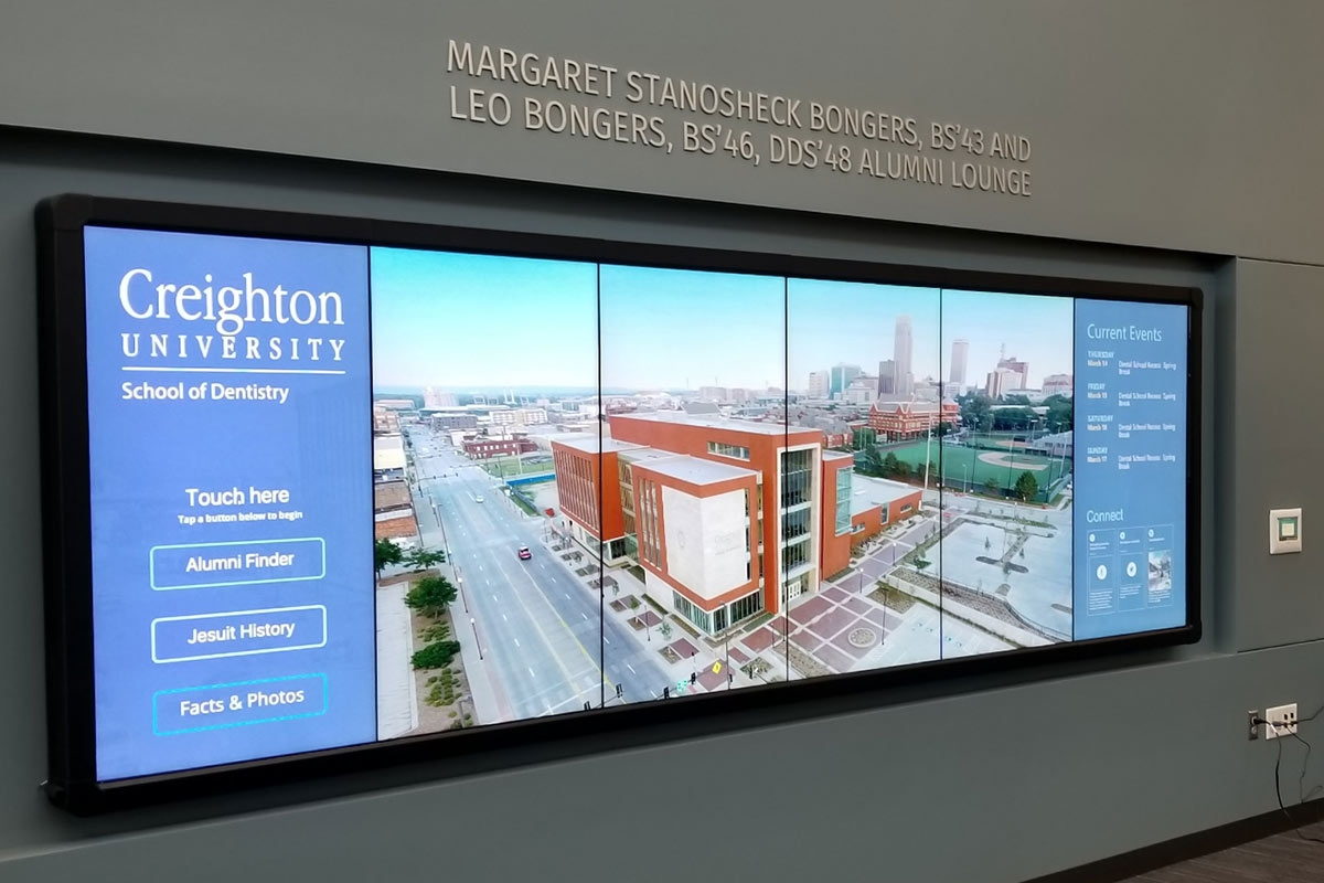 Creighton School of Dentistry alumni lounge video wall