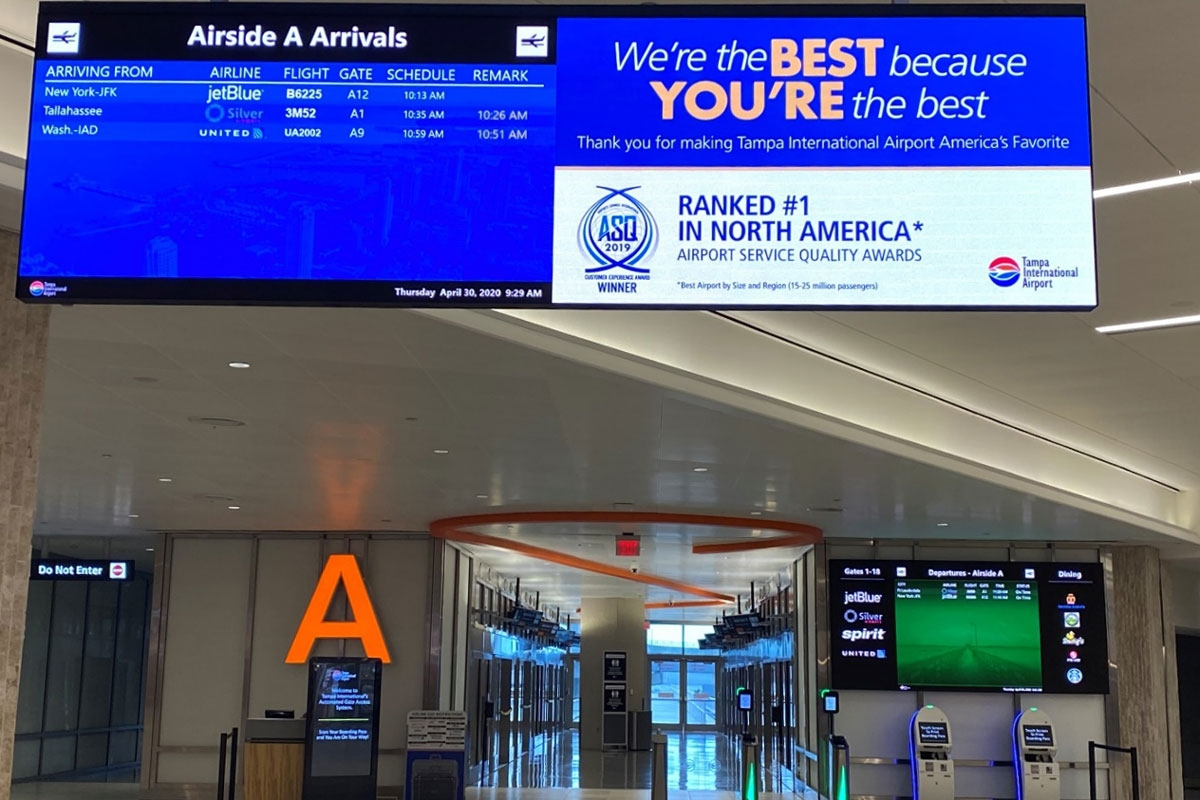 Tampa Airport digital signage integration