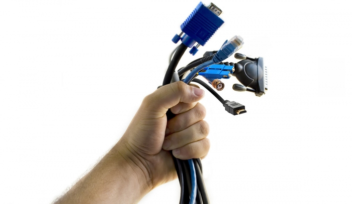 A handful of AV and IP cables - stock photo
