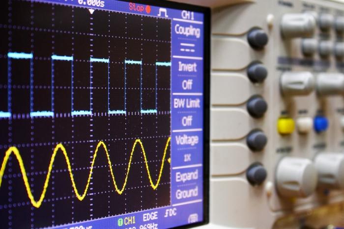 Waveform oscilloscope stock image