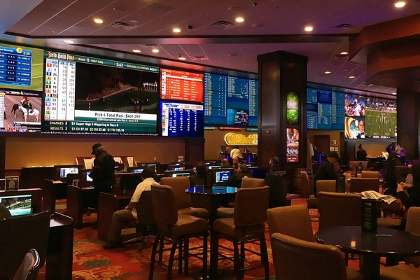 Silver Legacy Sports Book panoramic video wall